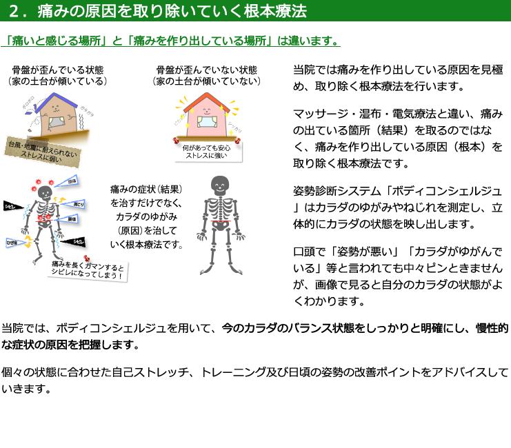 2.痛みの原因を取り除いていく根本療法